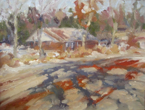 Snow on a Red Dirt Road, oil/canvas 9×7