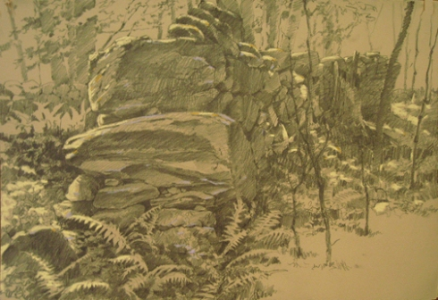 Stone wall at the old French Inn, once a waystation for drovers between Athol and Petersham. Plein air drawing in Harvard Forest, 22\