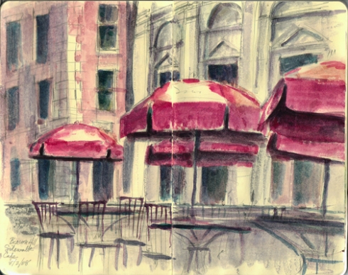 Sidewalk cafe on Beacon Hill. No place in a storm, umbrellas or no.
