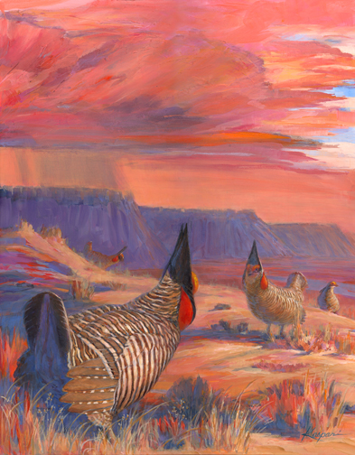 """Selman's Bluff"" lesser prairie chickens, acrylic on board 16""x20"""