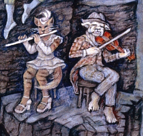"The cat and dog section play in harmony; detail from ""Symphony on the Mountain"""