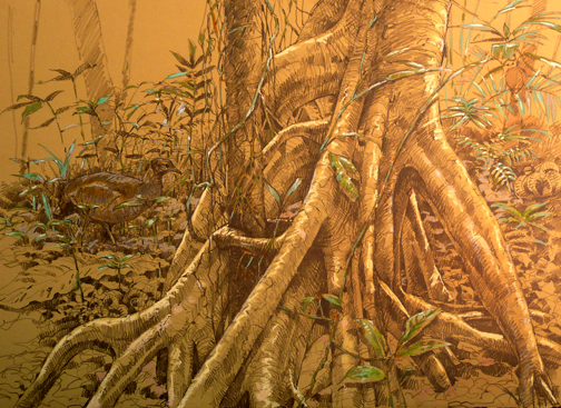 """18""""x24"""" pastel and graphite on Rives BFK; the trunk of an elderly cecropia, with serendipitous tinamou."""