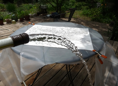 Fun hot-weather activity: hosing down your artwork