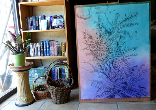 Houseplants in the wild; an Amazon bromeliad painting in progress.
