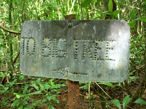 Trail marker on Barro Colorado Island- don't get lost!
