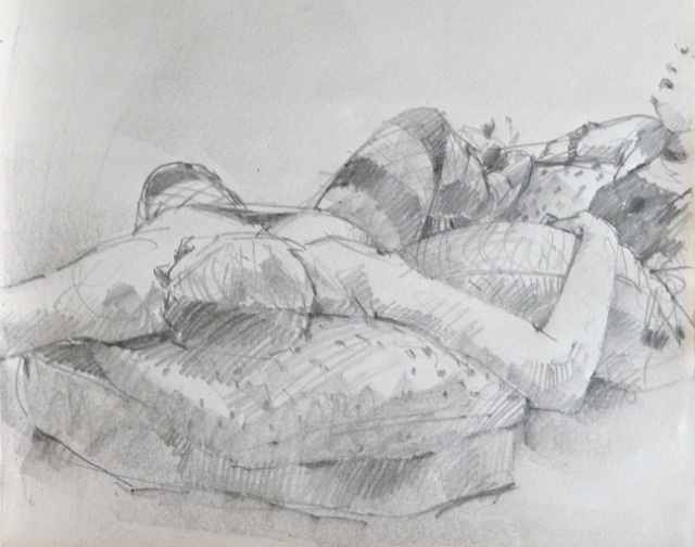 Exhausted models sprawl; 20 minute pose.
