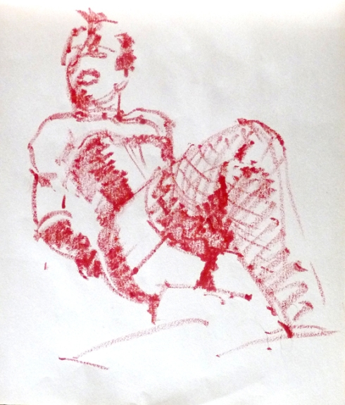 Dr. Frank N Furter, drawn in lipstick at Dr. Sketchy's Anti-Art School. This is after he took off his lab coat. 2 minute pose.