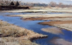 "Canadian River Bend (Oklahoma), plein air pastel on paper, 11"" x 7"""
