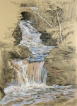 Doan's Falls, Massachusetts. Graphite and pastel on paper, 22 x30