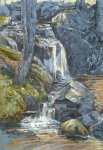 "Doyle's Cascade, Harvard Forest. Graphite and pastel on paper, 12"" x 17 1/2"""