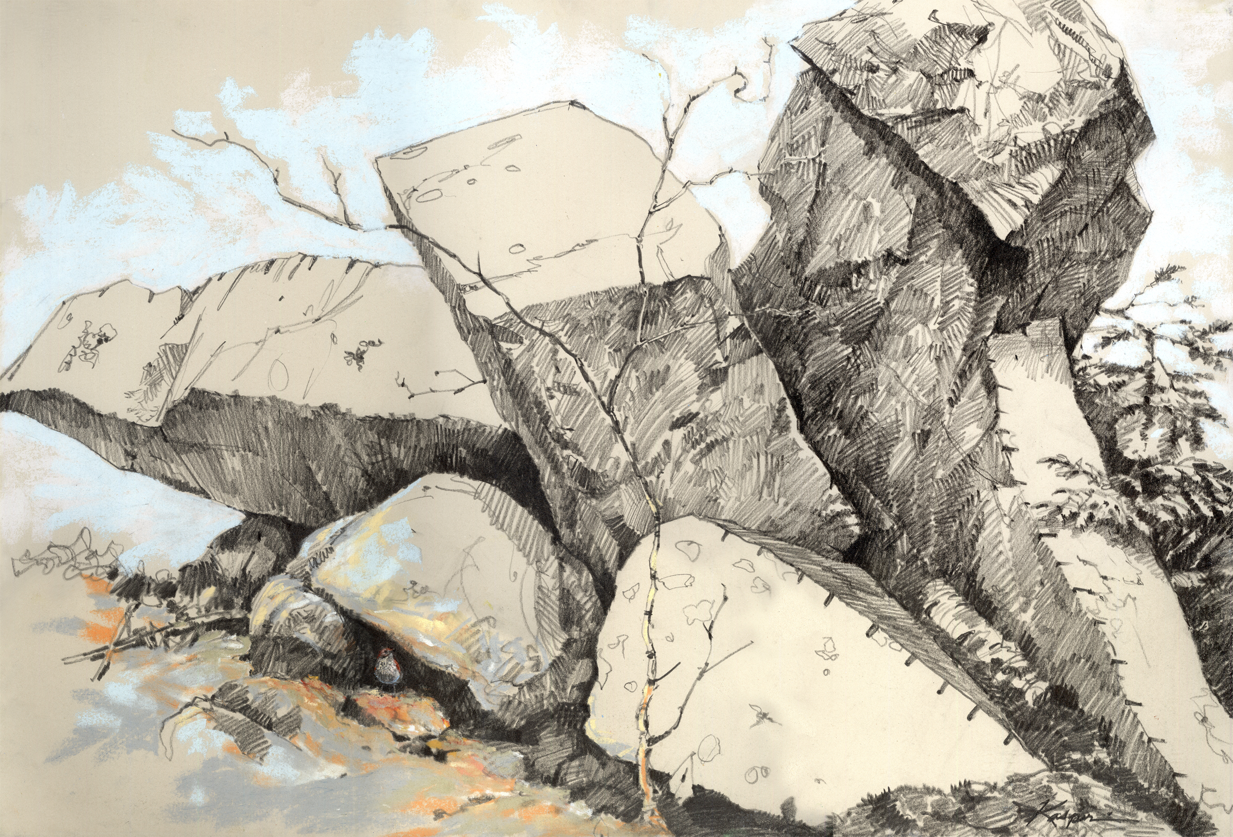 Plein Air Drawing Single-boulder Quarry/hermit