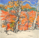 Autumn, Red Rock Canyon, Oklahoma. Graphite and pastel on paper.