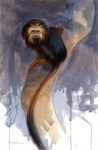"Golden-headed lion tamarin, oil on paper, 15"" x 22"""
