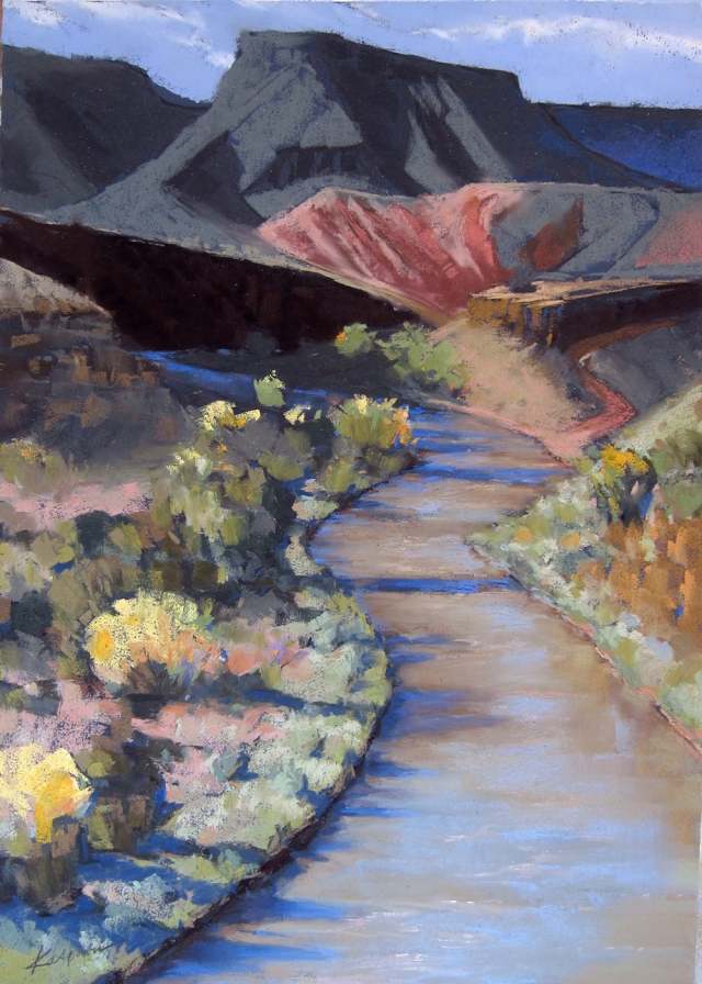 "Chama River, with a nicely shaped butte in the background. Pastel on royal blue Colorfix sanded pastel paper, 19"" x 12""."