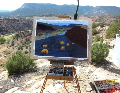 """Chama River panorama, being drawn in pastels. 27"""" x 19"""