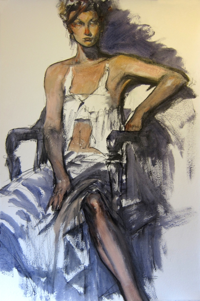 "65 minute pose, oil paint washes on Arches oil-primed paper, 15"" x 22"""