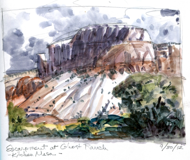 "Kitchen Mesa, located, behind the Ghost Ranch kitchen. Watercolor over pencil, 6 1/2"" x 5"", in Stillman & Birn sketchbook"