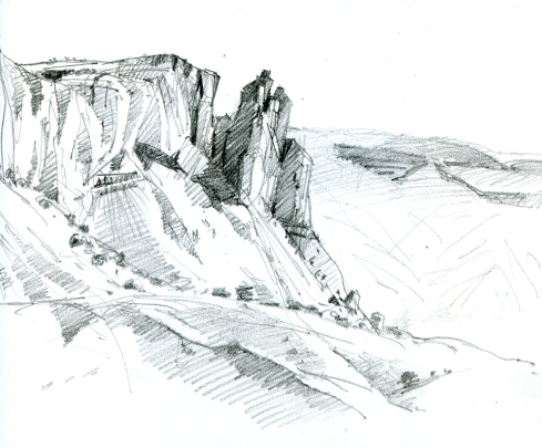 """Kitchen Mesa, another view; pencil in sketchbook. 8 1/2"""" x 6"""""""