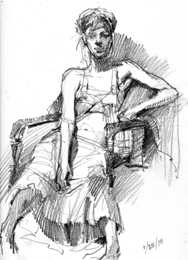 "25 minute pose, 6B pencil on Stillman & Birn Alpha Series hardbound 8.5"" x 11"" sketchbook."