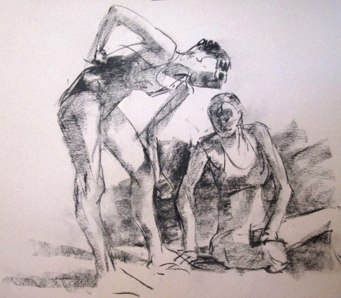 This one's in charcoal, two poses on one sheet of paper. Charcoal drawing is more like painting- I use the edge of the stick and drag it sideways to get shading, and straight down to get line. Doesn't this look like two friends at the beach?