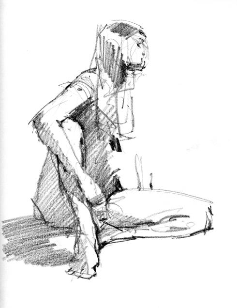 "Pencil on 81/2"" x 11"" sketchbook paper; 4 minute pose."