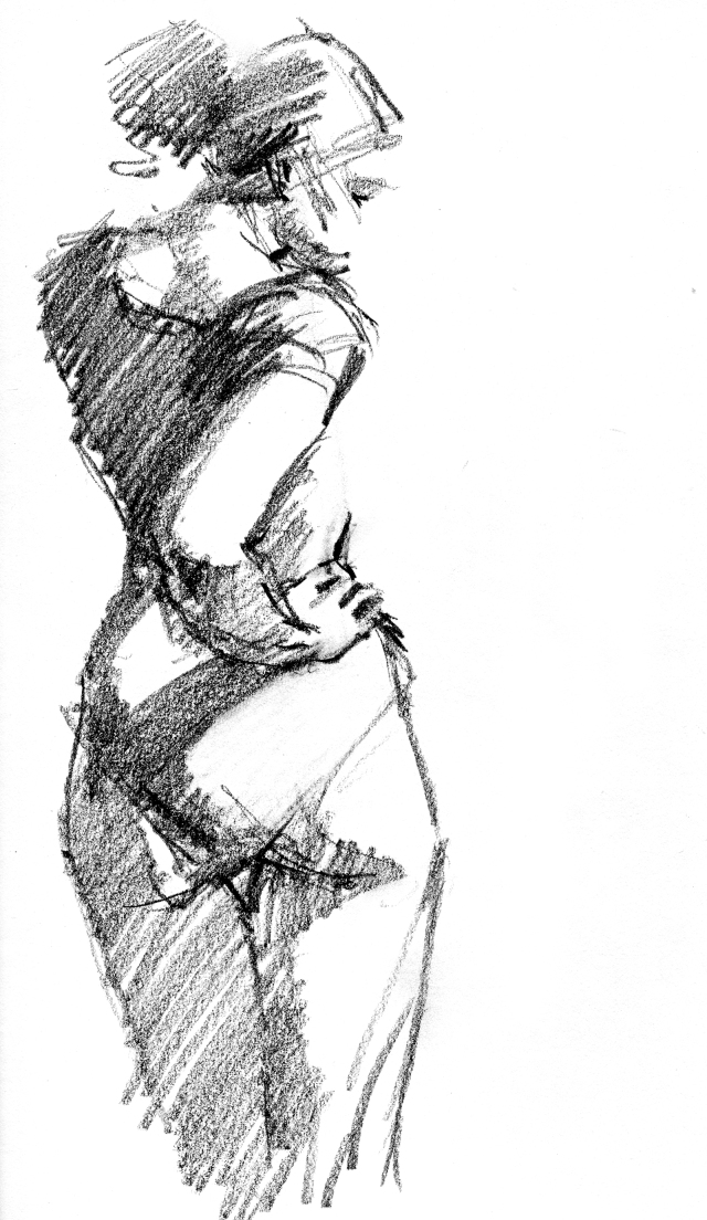 "6B pencil on 8 1/2"" x 11"" sketchbook page, 4 minute pose."