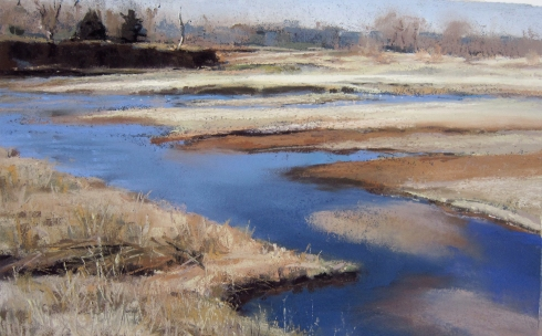 "We pondered how to capture this scene until the owner, brush-hogging nearby, invited us to crawl under his barbed-wire and set up our easels at the river's edge. A bald eagle circled overhead while we painted. Plein air, 11"" x 7"" pastel."