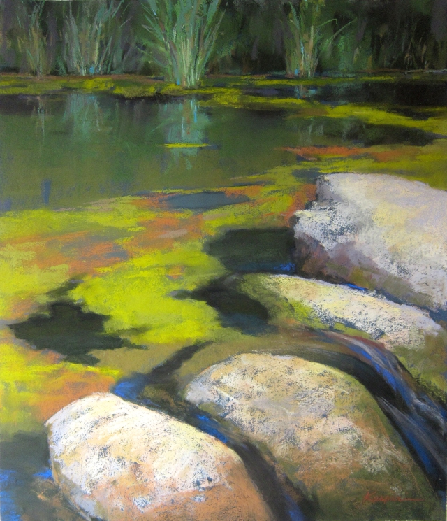 "Pond scum on the Chickasaw, August. Water was really down and you can so see the 1930s CCC-built rocks  in the river. Plein air, 19"" x 15"", pastel."