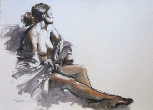 """Oil sketch on Arches primed paper 22"""" x 15"""". Using ultramarine blue, burnt umber and terra rosa thinned with turpenoid."""