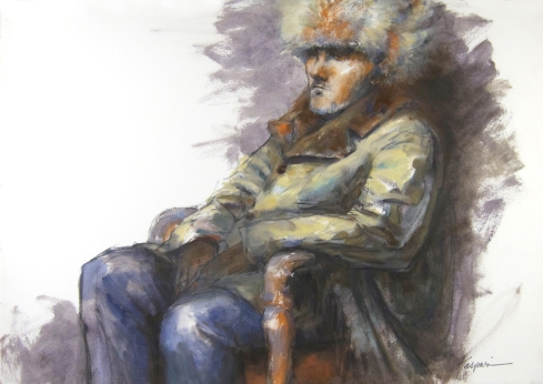 """Man in Fur Hat, oil on Arches oil-primed paper, 22"""" x 15"""". 2 hour pose."""