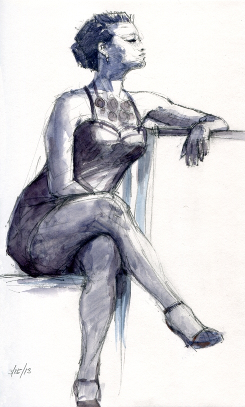 "Sometimes you covet the costume. I would have killed for those heels. 1 hr pose, 8 1/2"" x 11"" on Stillman & Birn Gamma Series sketchbook"