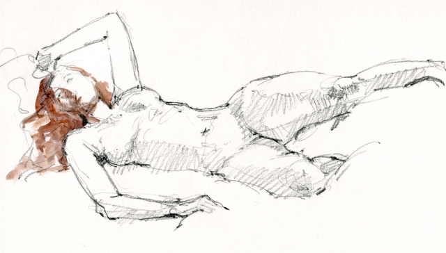 Comfort or discomfort, it's a bit of a stretch no matter what. Watercolor over 6B pencil in Stillman & Birn Gamma Series sketchbook. 20 minute pose.