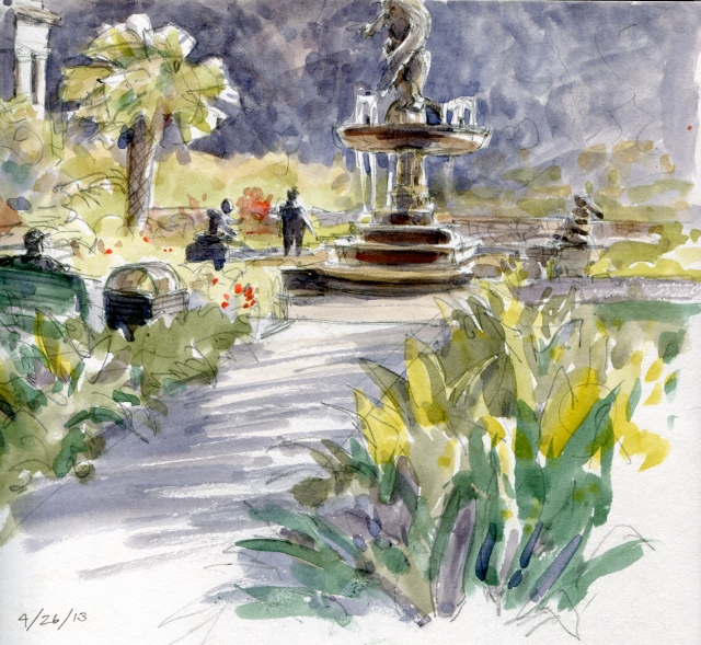 Fountain, Audubon Park, New Orleans. Alive with strolling dog walkers, bicyclists, roller bladers on a warm afternoon in April.