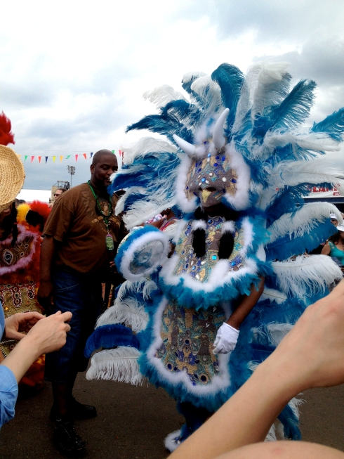 Mardi Gras Indians parade with the Black Eagles, Shawee and Big Chief Kevin Goodman & the Flaming Arrows.