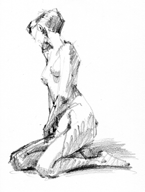 Like Narcissus's kid sister, on reflection. 4 minute pose, 6B pencil in Stillman & Birn Gamma Series sketchbook.