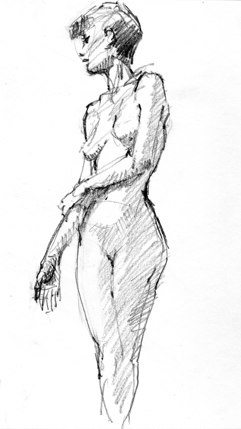 Great balance required to hold this 4 minute pose. 6B pencil in Stillman & Birn Gamma Series sketchbook.