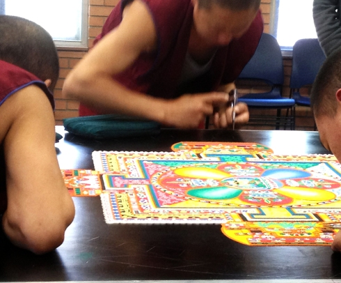 Sand Mandala, two days to go, working from the middle outward to the edge.