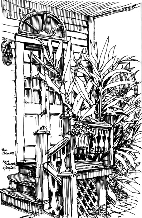 "Tropical foliage and old architecture; The Chimes, an Uptown B&B. Rapidograph pen and ink on paper, 6"" x 8"""