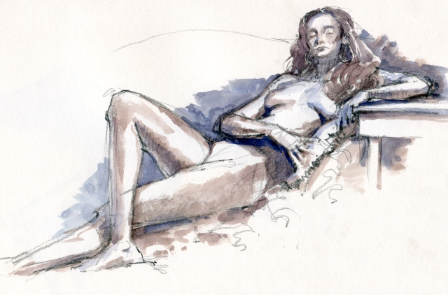 Nude, reclined sullenly with one crossed leg. Watercolor over 6B pencil in Stillman & Birn Gamma Series skethbook. 20 minute pose.