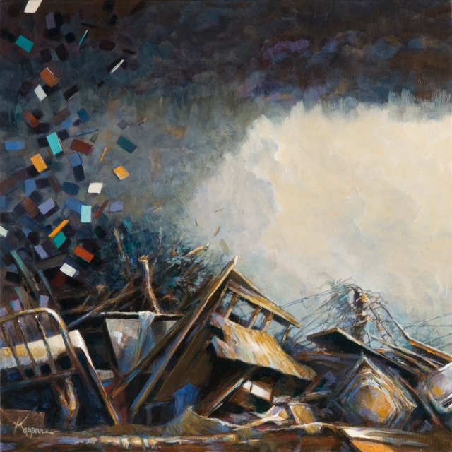 """Rise""; 12"" x 12"" acrylic on canvas, 2013. Painted from first image taken on iphone upon leaving the storm shelter on May 10, 2010. Painted on a canvas recovered from the rubble of my studio. What you are looking at is the guest room, brass bed, linens, washer and dryer to the right where the laundry room was. Brown shag carpet at the bottom. The back of the canvas, oddly, is my favorite part of the piece. It holds a collection of dirt, wallboard chips, and fiberglass insulation. I had the framer preserve it with an acrylic cover."
