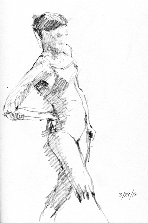 "Leaning back to consider the situation, or perhaps work out a kink in the lumbar. Love this gesture. 4 minute pose, Stillman & Birn Gamma Series 8 1/2"" x 11"" hardbound sketchbook. Drawn in a thunderstorm."