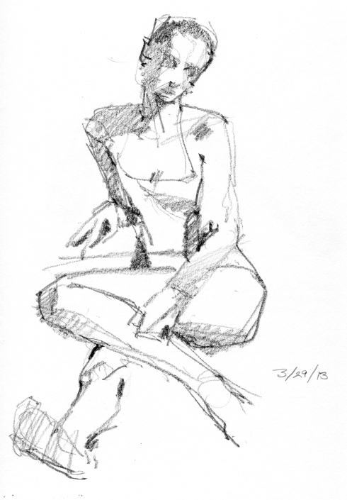 "Awkward+ winsome= beautiful. 4 minute pose. Stillman & Birn Gamma Series 8 1/2"" x 11"" hardbound sketchbook."