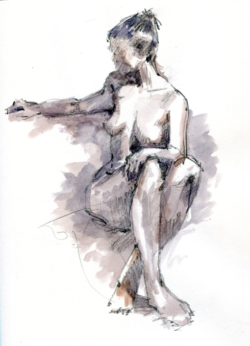 Seated, turning nude. 20 minute pose, watercolor wash over pencil, Stillman & Birn Gamma Series hardbound 8 1/2 x 11 sketchbook.