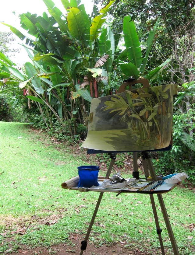 painting big leaves in paradise.
