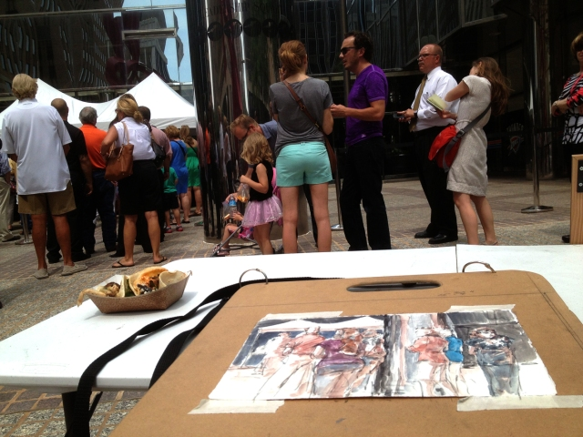 Quick draw on the scene at Tornado Relief fundraiser on Monday; Oklahoma City folks lined up around the block for a taste (for a donation of $10) of celebrity chef Rick Bayless's delish street tacos. Watercolor over pencil, by the way.