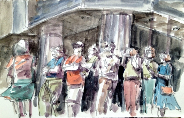 Quickdraw in Leadership Square, sketching the scene as fast as the fingers could fly. Watercolor over pencil on Arches hot press watercolor paper, 140 lb.