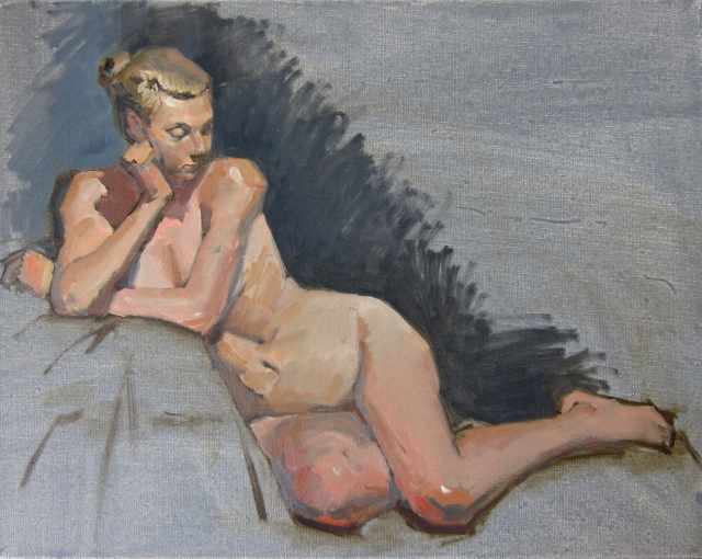"Today's figure session, with chignon-topped blonde. Oil on gray-toned canvas, 20"" x 16""."