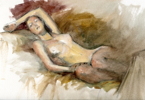 Nude flings herself onto the couch in a Victorian faint, and keeps this position for three heroic hours as artists scramble for smelling salts and fragrant tussy-mussies.