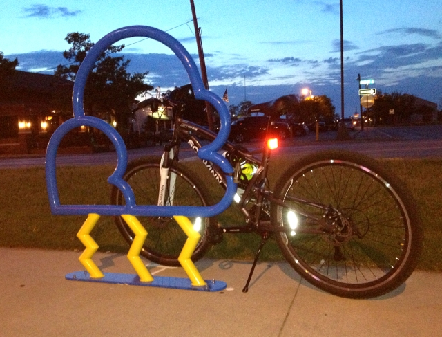 Thundercloud bike rack, corner of Main Street and James Garner Avenue.