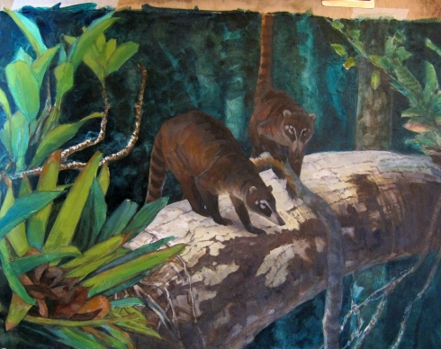 "Coatis, in progress. Oil on Arches primed paper, 24"" x 18"""